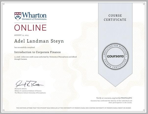 Business Foundations Specialization | Adel Landman Steyn